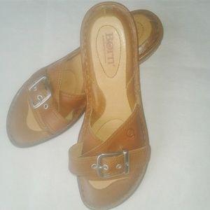 Born Chestnut Leather Slip On Slide Buckle Sandals